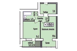ЖК Лісовий квартал: планування 1-кімнатної квартири 52.9 м²