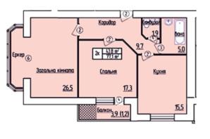 ЖК Лісовий квартал: планування 2-кімнатної квартири 77.1 м²
