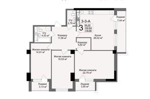 ЖК Люксембург: планування 3-кімнатної квартири 116.68 м²