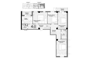 ЖК Люксембург: планировка 4-комнатной квартиры 132.9 м²