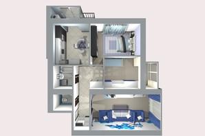 ЖК Living Park «Нова Будова-2»: планування 3-кімнатної квартири 84.8 м²