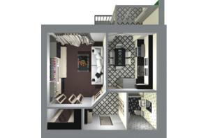 ЖК Living Park «Нова Будова-2»: планування 1-кімнатної квартири 45.8 м²