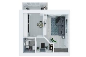 ЖК Living Park «Нова Будова-2»: планування 1-кімнатної квартири 44.4 м²
