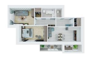 ЖК Living Park «Нова Будова-2»: планування 2-кімнатної квартири 71.2 м²