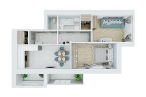 ЖК Living Park «Нова Будова-2»: планування 2-кімнатної квартири 72 м²