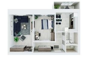 ЖК Living Park «Нова Будова-2»: планування 2-кімнатної квартири 64.1 м²