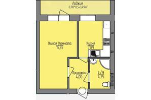 ЖК Лівобережний: планування 1-кімнатної квартири 35.18 м²