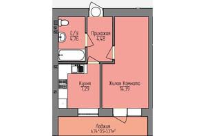 ЖК Лівобережний: планування 1-кімнатної квартири 34.29 м²