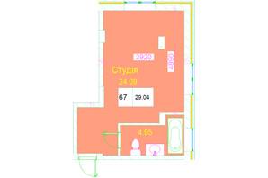 ЖК Love: планування 1-кімнатної квартири 29.04 м²