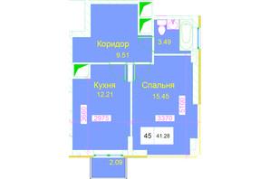 ЖК Love: планування 1-кімнатної квартири 41.28 м²
