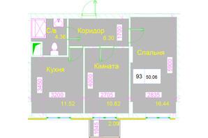 ЖК Love: планування 2-кімнатної квартири 50.06 м²