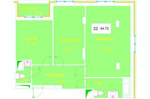 ЖК Love: планування 2-кімнатної квартири 64.72 м²