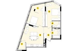 ЖК Lucky Land: планировка 2-комнатной квартиры 70.41 м²