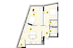 ЖК Lucky Land: планировка 2-комнатной квартиры 68.35 м²