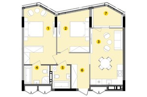ЖК Lucky Land: планировка 2-комнатной квартиры 73.97 м²