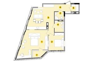 ЖК Lucky Land: планировка 2-комнатной квартиры 83.41 м²