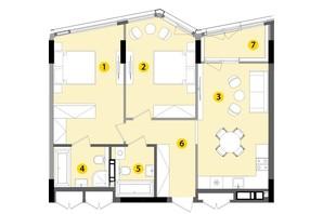 ЖК Lucky Land: планировка 2-комнатной квартиры 73.01 м²