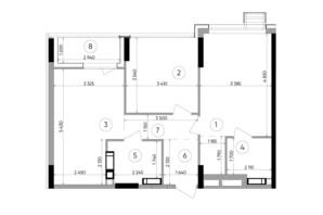 ЖК Lucky Land: планировка 2-комнатной квартиры 66.24 м²
