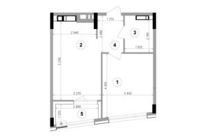 ЖК Lucky Land: планировка 1-комнатной квартиры 42.94 м²