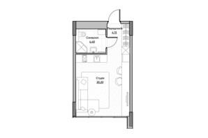 ЖК Lucky Land: планировка 1-комнатной квартиры 28.73 м²