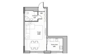 ЖК Lucky Land: планировка 1-комнатной квартиры 35.68 м²