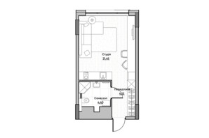 ЖК Lucky Land: планировка 1-комнатной квартиры 29.82 м²