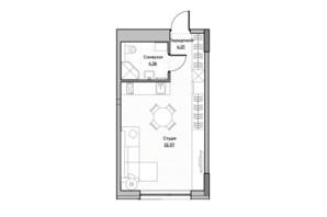 ЖК Lucky Land: планировка 1-комнатной квартиры 30.14 м²