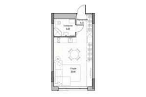 ЖК Lucky Land: планировка 1-комнатной квартиры 30.02 м²