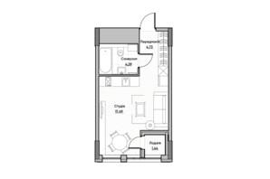 ЖК Lucky Land: планировка 1-комнатной квартиры 27.99 м²