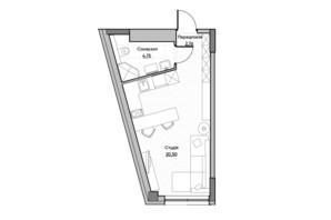ЖК Lucky Land: планировка 1-комнатной квартиры 28.01 м²