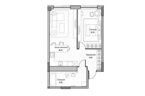 ЖК Lucky Land: планировка 1-комнатной квартиры 54.51 м²