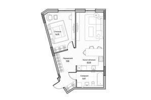 ЖК Lucky Land: планировка 1-комнатной квартиры 54.75 м²