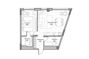 ЖК Lucky Land: планировка 1-комнатной квартиры 55.42 м²