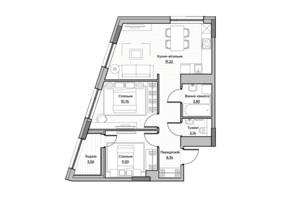 ЖК Lucky Land: планировка 2-комнатной квартиры 56.32 м²