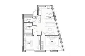 ЖК Lucky Land: планировка 2-комнатной квартиры 61.06 м²