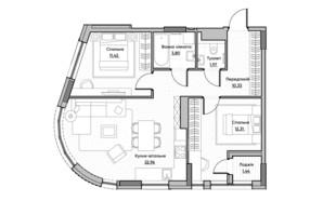 ЖК Lucky Land: планировка 2-комнатной квартиры 64.23 м²
