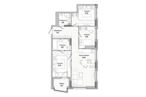 ЖК Lucky Land: планировка 3-комнатной квартиры 75.52 м²