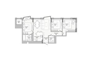 ЖК Lucky Land: планировка 3-комнатной квартиры 90.86 м²