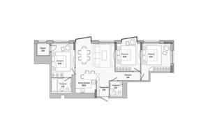 ЖК Lucky Land: планировка 3-комнатной квартиры 90.83 м²