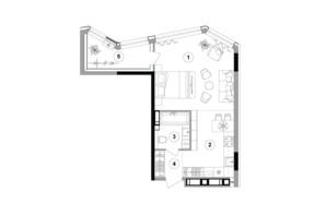 ЖК Lucky Land: планировка 1-комнатной квартиры 44.62 м²