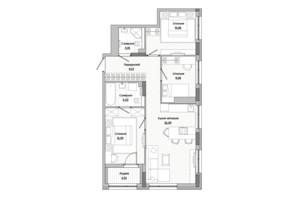 ЖК Lucky Land: планировка 3-комнатной квартиры 74.15 м²