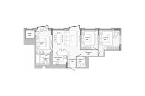 ЖК Lucky Land: планировка 3-комнатной квартиры 80.52 м²