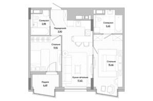ЖК Lucky Land: планировка 3-комнатной квартиры 74.46 м²