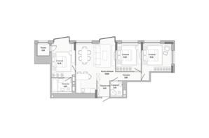 ЖК Lucky Land: планировка 3-комнатной квартиры 80.51 м²