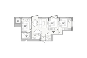 ЖК Lucky Land: планировка 3-комнатной квартиры 81.88 м²