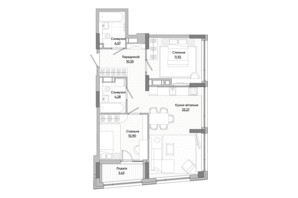 ЖК Lucky Land: планировка 1-комнатной квартиры 42.76 м²