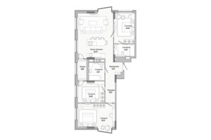 ЖК Lucky Land: планировка 3-комнатной квартиры 90.75 м²