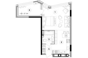 ЖК Lucky Land: планировка 1-комнатной квартиры 44.24 м²