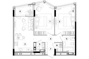 ЖК Lucky Land: планировка 2-комнатной квартиры 73.74 м²