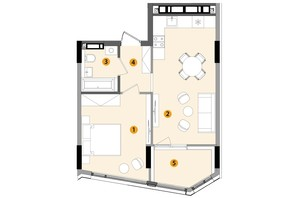 ЖК Lucky Land: планування 1-кімнатної квартири 47.42 м²